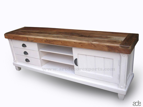 Mango Wood White Painted TV Cabinet