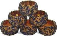 Gold And Blue Glass Beads Napkin Rings Set  Of 6 Pcs