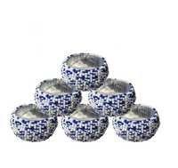 White And Blue Glass Beads Napkin Rings 6 Pcs Set