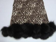 Animal prints silk pashmina wool shawls with fur ball