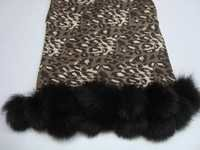 Animal prints silk pashmina wool shawls with fur ball