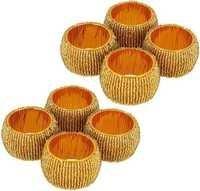 Golden Glass Beaded Napkin Rings Set Of 8 Pcs