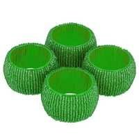 Green Glass Beaded Napkin Ring Set Of 4 Pcs