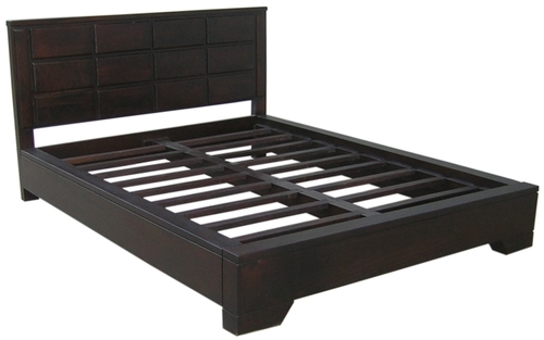 Dark Brown Rectangle Boxes Double Bed