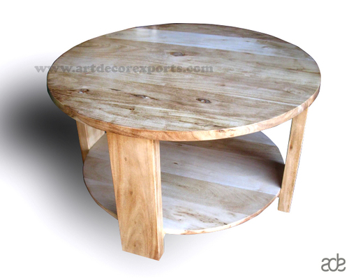 Acacia Wood Round Coffee Table