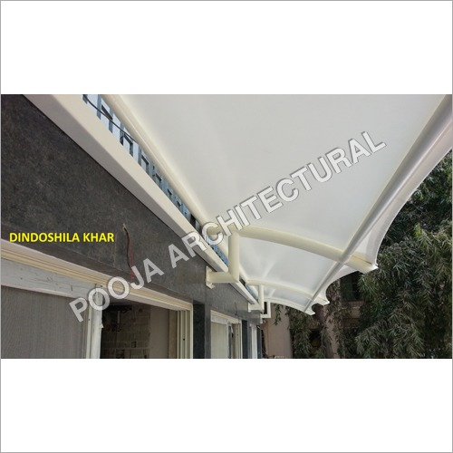 Tensile Membrane canopy shade for window.