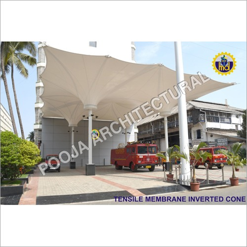 Tensile Membrane inverted cone,water harvesting .