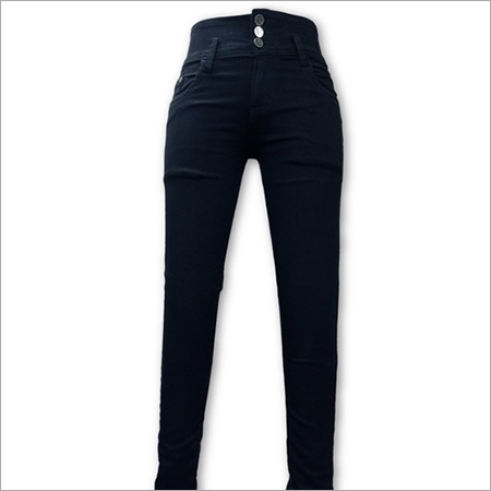 Ladies Plain Black Jeans