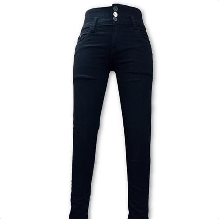 Ladies Plain Black Jeans