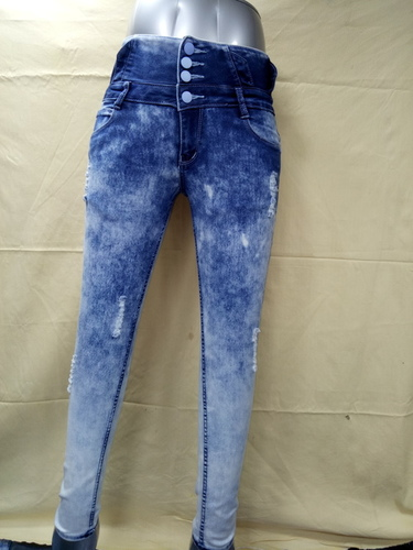 Ladies Stylish Rugged Pattern Jeans