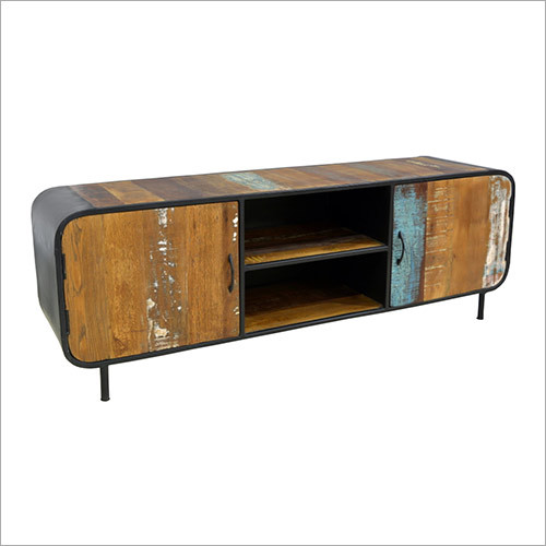 Reclaimed TV Cabinet With Two Sliding Doors