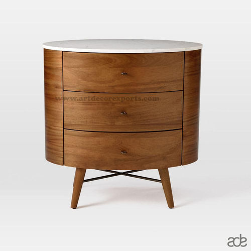 Round Wooden Bedside