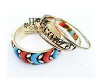 Brass Resin Pipe Bangle Set