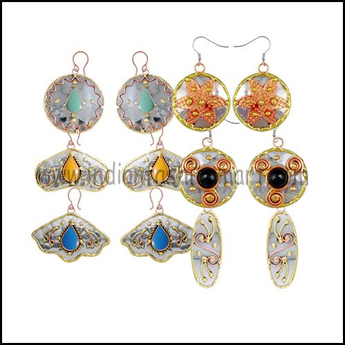 Tri Metal Earrings