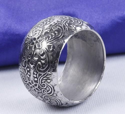 Engraved Silver Round Napkin Ring