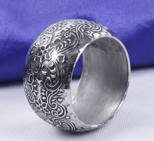 Engraved Silver Round Napkin Ring