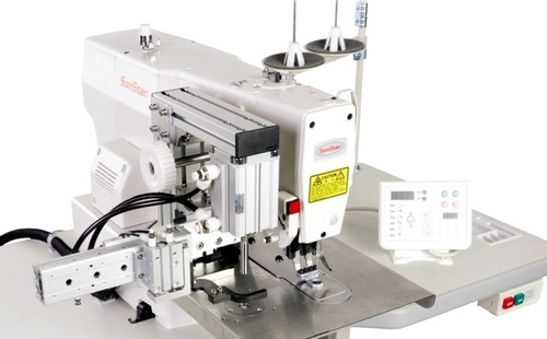 Electronically Controlled, Bartack Sewing Machine with Vent Hole Pattern & Punching