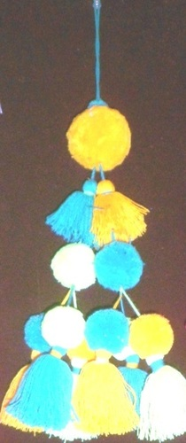 YELLOW BLUE TRIBAL TASSEL