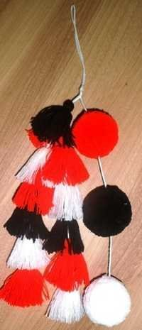 BLACK WHITE RED TRIBAL TASSEL