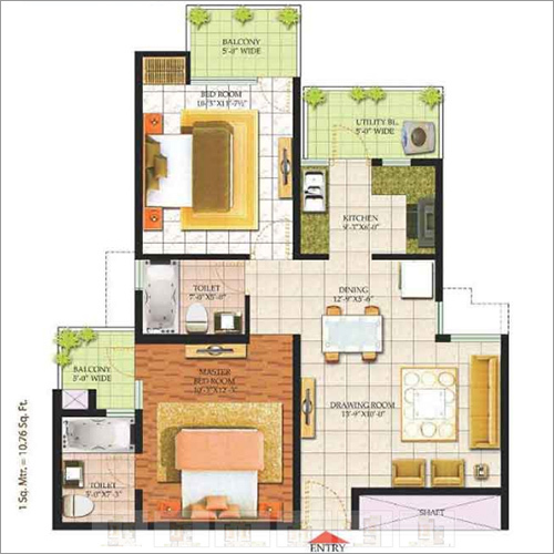 2 BHK + 2 Toilet + 2 Balcony