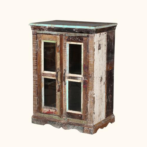 Reclaimed Nightstand with Glass Doors