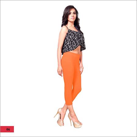 Ladies Plain Orange Capri