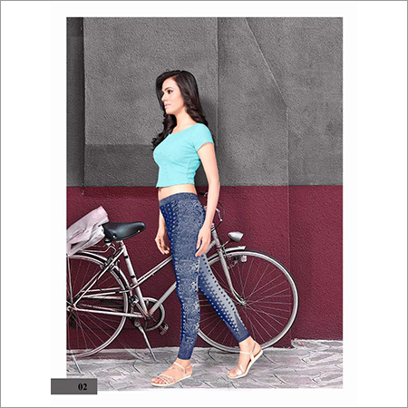 Ladies Printed Blue Legging
