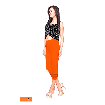Ladies Casual Wear Orange Capri