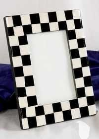 Wooden White & Black Mop Picture Frame