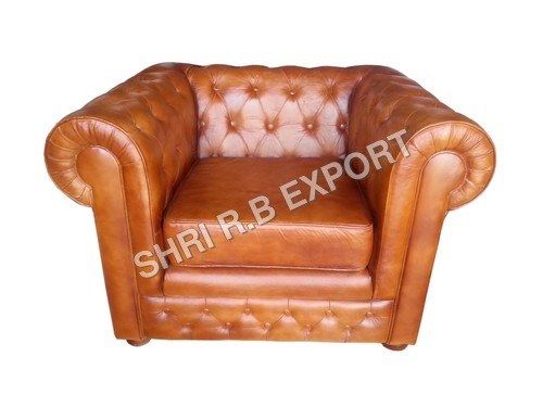 Leather and Canvas Sofa