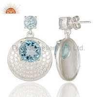Blue Topaz 925 Silver Gemstone Earring