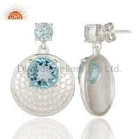 Handmade 925 Sterling Silver Blue Topaz Gemstone Disc Earrings Jewelry
