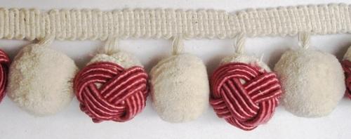 white and red Pom pom fringe
