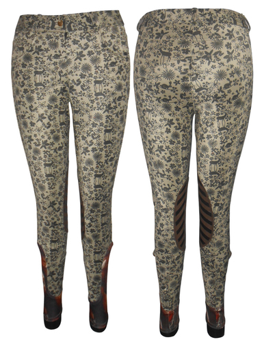Printed horse riding knee patch breech
