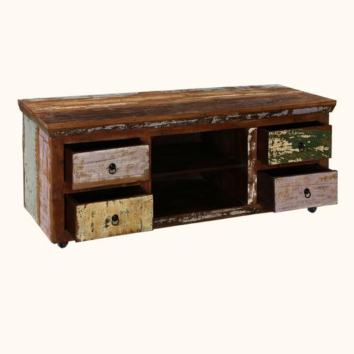 Reclaimed Wood Rolling Media Cabinet