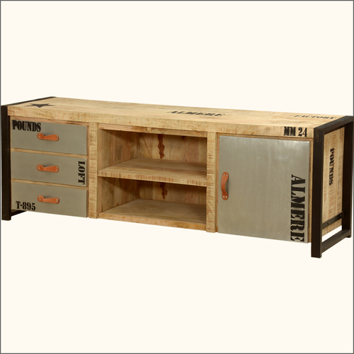 Industrial TV console media cabinet