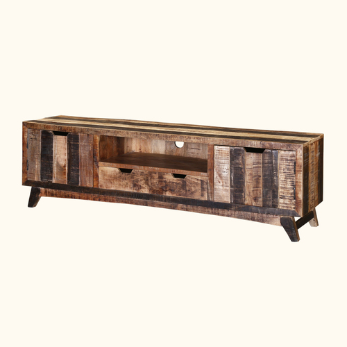 Reclaimed Black & White Theme Based TV Entertainment Media Console