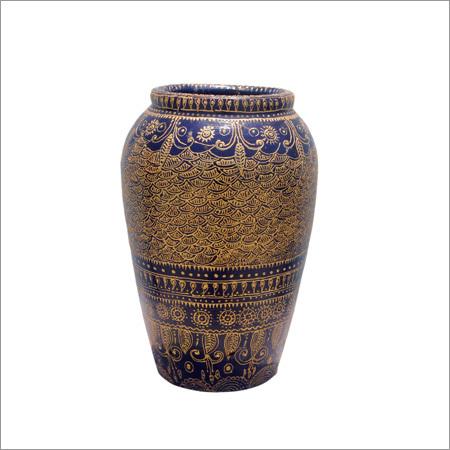 Golden Conical Work Earthen Pot