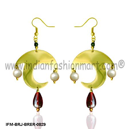 Dolphin Twirls - Brass Earrings