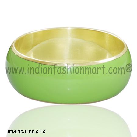 Vista Lime -  Brass Bangle