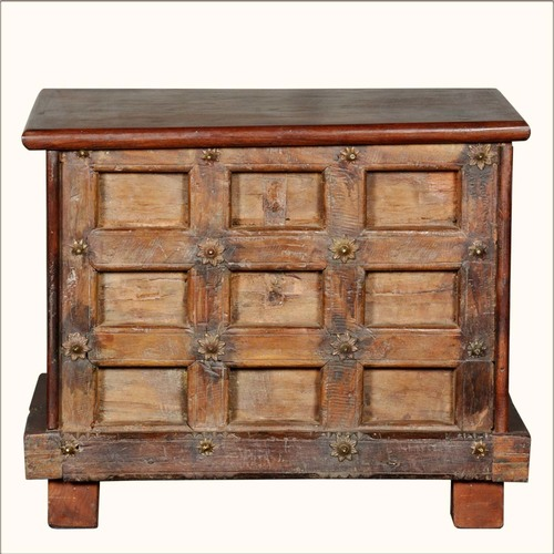 Beautiful Rustic Brown Reclaimed Mini Storage Trunk Chest