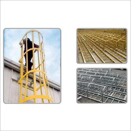 Fiberglass Safety Caged Ladder