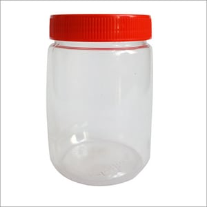 Plastic Jar with Red Lid