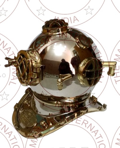 Chrome Diving Helmet With Brass Fitting