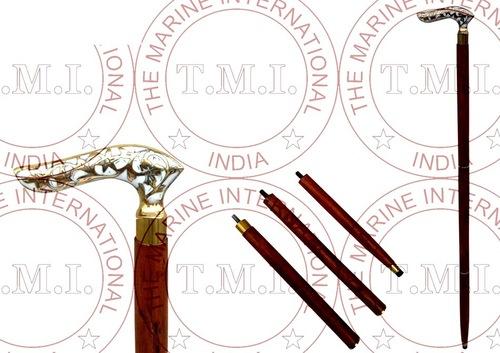 Brass & Mop Design Handle Walking Stick