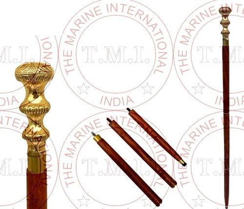 Brass Round Design Handle Walking Stick