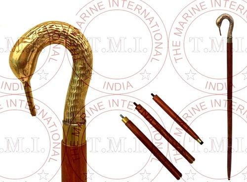 Brass Swan Head Walking Stick