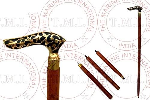 Brass Design handle Wooden Walking Stick