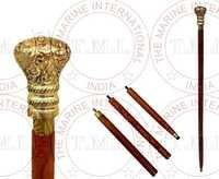 Wooden Walking Cane With Brass Design Handle