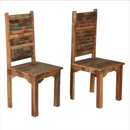 Rustic Brown Shutter Door Back Chair